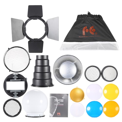 9 in 1 Speedlite Accessories Kit with Universal Mount Adapter/ Barndoor/ 20*30cm Softbox/ 2 Honeycombs/ Mini Reflector/ Conical Snoot/ Diffuser Ball/ 4 Color Filters