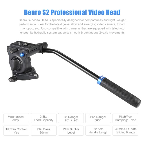 Benro S2 Professional Video Head Fluid Head Hydraulic Damping 3D Tripod Head Video Camera Monopod Head Max Load 2.5Kg