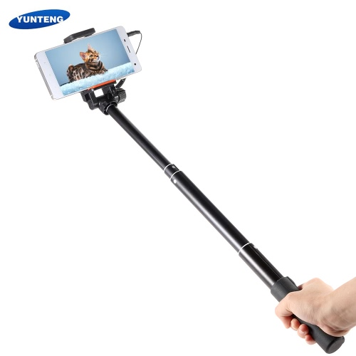 YUNTENG YT-808 Mini Wired Cable Selfie Self-Timer Rotatable Pole Monopod with Phone Clip for iPhone 6 plus/6s/5s/5/4s for Samsung Smartphone with IOS 5.0 Android 4.2 System or above