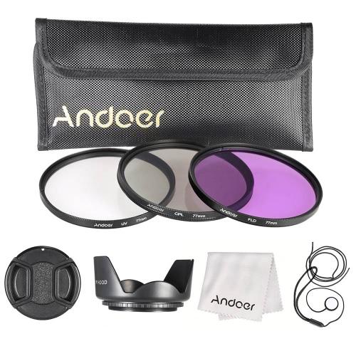 Andoer 77 millimetri filtro Kit (UV + CPL + FLD) + Nylon Carry Pouch + copriobiettivo + Lens Holder Cap + paraluce + lente panno di pulizia