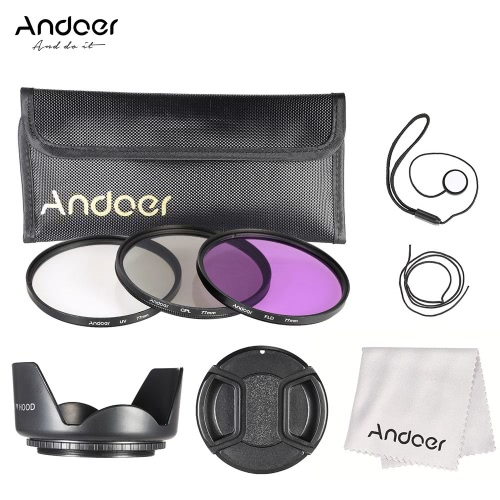 Andoer 77mm Filter Kit (UV+CPL+FLD) + Nylon Carry Pouch + Lens Cap + Lens Cap Holder + Lens Hood + Lens Cleaning Cloth