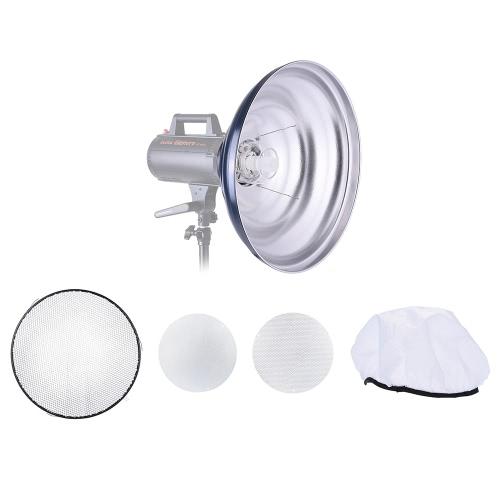 41cm / 16in Zaondulowany Beauty Dish Reflektor z Honeycomb miękką ściereczką Dwa reflektorów stock akcesorium dla Strobe Studio lampą błyskową z Bowens Górze
