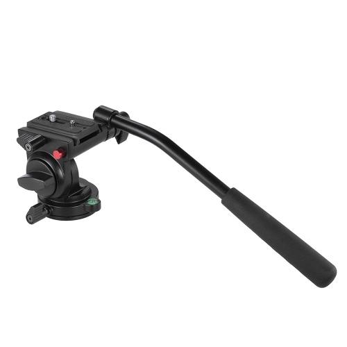 キヤノン、ニコンのデジタル一眼レフカメラビデオカメラの最大のためのハンドグリップビデオ写真流体抗力油圧三脚ヘッド。負荷容量の5キロ/ 11Lbsアルミ合金