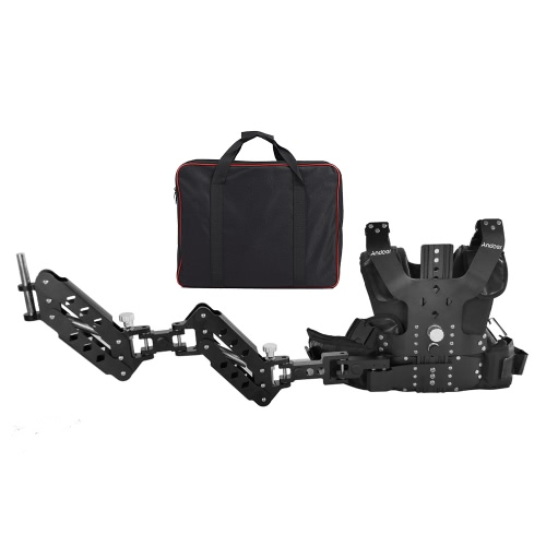 Andoer B200-C2 Pro Video Studio Photographie en alliage d'aluminium Charge Vest Rig 16mm double Support de bras Damping de stabilisation d'épaule pour Steadycam Handheld Stabilisateur DSLR Caméscope Film Film Making Capacité de charge 5-8kg / 11-17.6Lbs