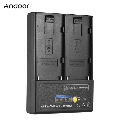 Andoer NP-F to V-mount Battery Converter Adapter Plate with Dual Slot  for NP-F550 NP-F750 NP-F970 Series