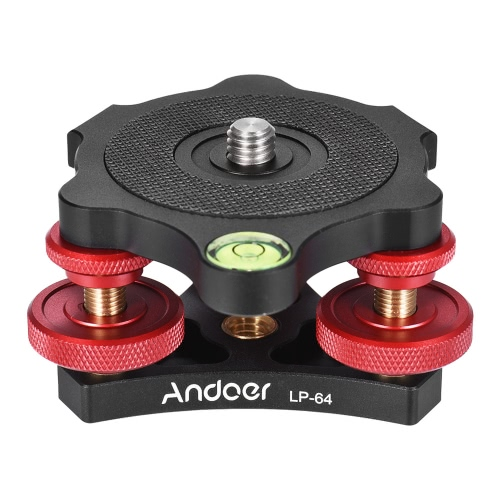 Andoer LP-64 Tripod Leveling Base Tri-wheel Precision Leveler with Bubble Level 3/8