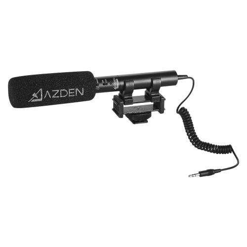 AZDEN SGM-990 Micrófono Omni de escopeta Micrófono de condensador Electret supercardiodo con patrones de captación larga y corta Salida de miniclavija de 3,5 mm para cámaras DSLR