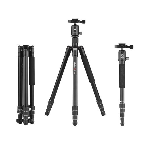 Kingjoy G55+G0 Aluminum Alloy 4-Section Travel Tripod Detachable Monopod