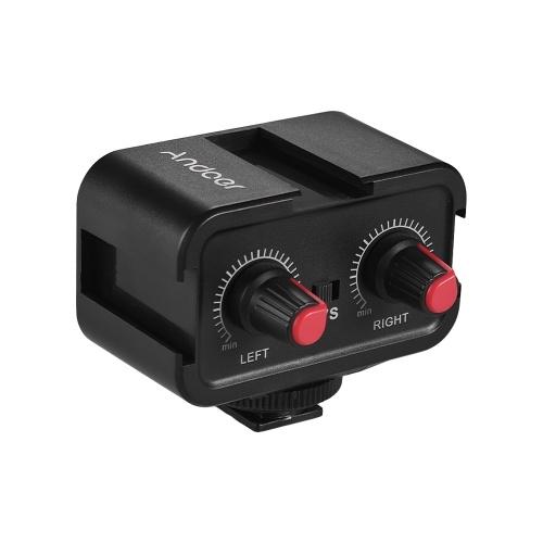 Andoer WS-VS Dual-Channel-Mikrofon Audio-Mixer-Adapter & Cold Shoe Mounting Hub 3,5 mm Stereo-Ausgang für Canon Nikon Sony DSLR Kamera Camcorder