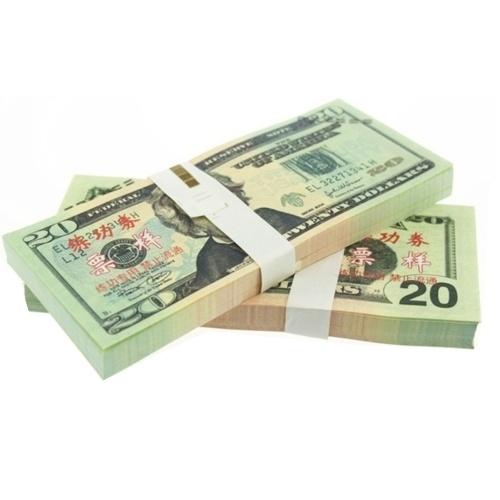 Denomination 20 USD Pack USD Papier Bar Atmosphäre Requisiten Geld für Film TV Video Neuheit Fotografie Werkzeuge (20 Stücke)