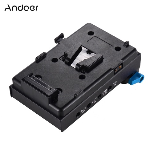 Andoer V Mount V-lock Battery Plate Adapter with 15mm Dual Hole Rod Clamp NP-FW50 Dummy Battery Adapter for BMCC BMPCC Sony A7 A7S A7R A7II A7SII A7RII A7III A7SIII for Monitor Audio Recorder Microphone Frequency Divider D6325