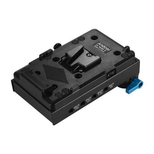 Andoer V Mount V-lock Battery Plate Adapter with 15mm Dual Hole Rod Clamp NP-FW50 Dummy Battery Adapter for BMCC BMPCC Sony A7 A7S A7R A7II A7SII A7RII A7III A7SIII for Monitor Audio Recorder Microphone Frequency Divider