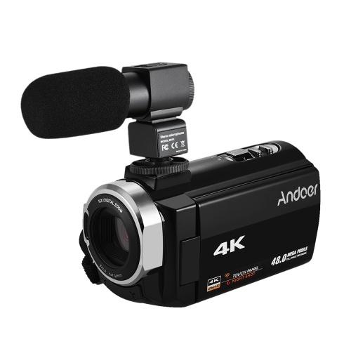 Caméra vidéo numérique Andoer 4K HD caméscope zoom numérique 16X avec écran tactile 3 pouces WiFi IR avec vision nocturne avec piles 2pcs + microphone à condensateur stéréo + téléobjectif 8x