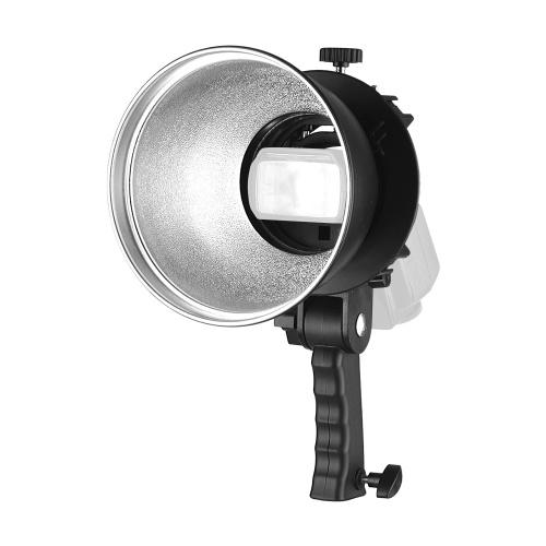 Handheld S-Typ Blitzhalterung + 7 Zoll 65 Grad Standard Reflektor Diffusor Schatten Lampenschirm mit Bowens Halterung für Speedlite Flash Snoot Softbox Beauty Dish Fotografie Regenschirm