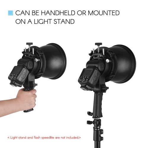 Handheld S-Type Flash Bracket Holder+7 Inch 65 Degree Standard Reflector Diffuser Shade Lamp Shade with Bowens Mount for Speedlite Flash Snoot Softbox Beauty Dish Photography Umbrella