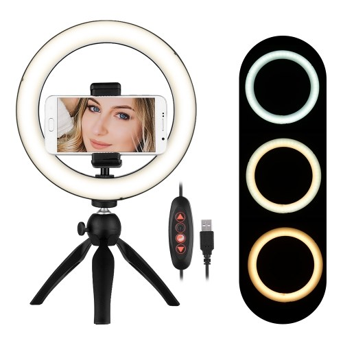 Andoer Portable 8.6 Inch LED Ring Light Lamp 3 Light Modes & Dimmable Brightness with Tripod Stand Cell Phone Holder Selfie Ringlight for Vlog YouTube Photo Studio Live Streaming Video Portrait Makeup Photography for iPhone X/Xs/XR/8/8 Plus for Samsung Galaxy S9 Plus/S9/S8 Plus/S8