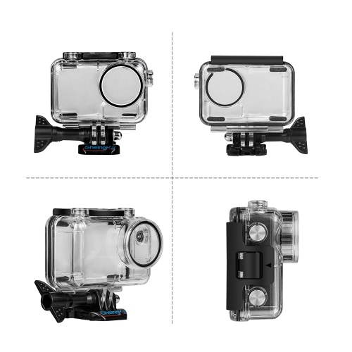 Andoer Transparent Sports Action Camera Waterproof Housing Case Protective Case Box Shell Protector with Mount Base Screw Underwater Depth 40 Meters/ 131ft for Swimming Diving Surfing Skiing for DJI Osmo Action