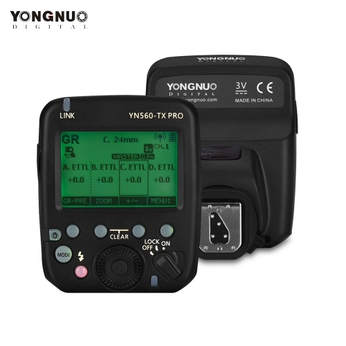 YONGNUO YN560-TX PRO 2.4G On-camera Flash Trigger Speedlite Wireless Transmitter with LCD Screen for Nikon DSLR Camera for   YN862N/YN968N/YN200/YN560III/YN560IV/YN860Li/YN720/YN660/YN685 Speedlite for YN622NII/RF605 Series/RF603II Series/RF602-RX Receiver
