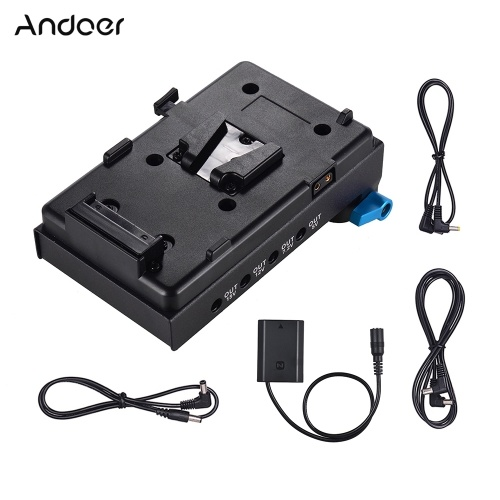 Adaptador de placa de batería Andoer V Mount V-lock con abrazadera de varilla de doble orificio de 15 mm Adaptador de batería simulada NP-FZ100