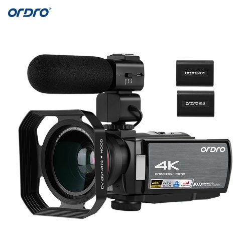 ORDRO HDV-AE8 4K WiFiデジタルビデオカメラビデオカメラDVレコーダー