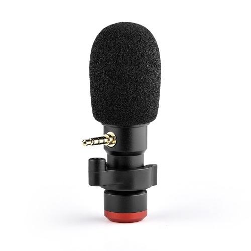 Andoer MIC06 Mini plug-in Microfono per smartphone Mic 3,5mm Spina TRRS per smartphone Registrazione video Trasmissione in diretta Canto online Chat