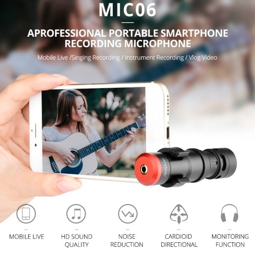 Andoer MIC06 Mini Plug-in Smartphone Microphone Mic 3.5mm TRRS Plug for Smartphone Video Recording Live   Broadcast Online Singing Chatting