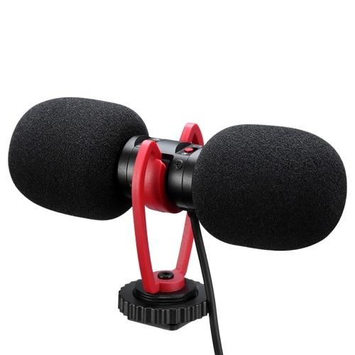 SAIREN T-MIC Dual-Head Mini Microphone Super-Cardioid Stereo Record Mic 3.5mm TRRS Plug
