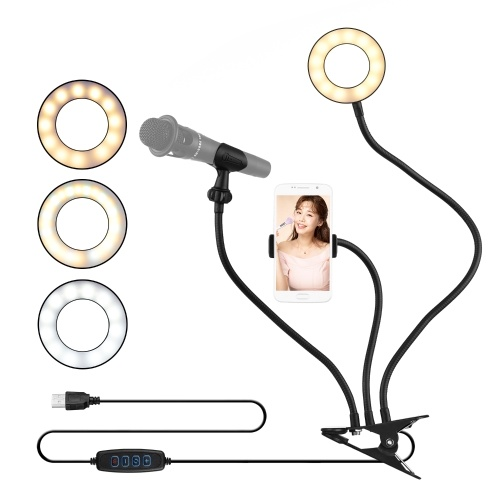 docooler Clip-On Mini USB Ring Light Lampe d'appoint 3 modes d'éclairage