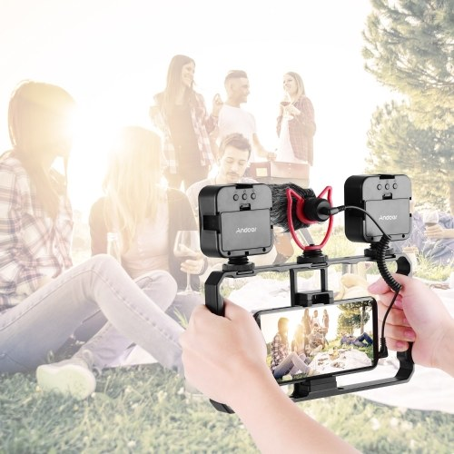 Andoer Smartphone Video Rig Grip with Rig Dual LED Light Microphone