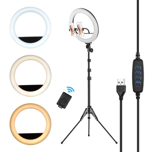 14inch/36cm Video LED Ring Light 13W 3000-6500K Color Temperature 3 Colors Dimmable 10-level Brightness CRI90 with Aluminum Alloy Tripod Dual Phone Holders Remote Shutter