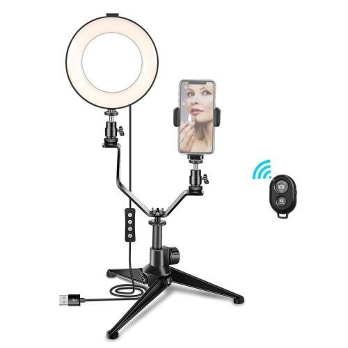 6 Zoll / 16 cm Fotoring Videolicht Dimmbares LED-Fülllicht Selfie-Ringlicht mit Stativ V-förmige Halterung Telefonhalter Fernbedienung für Porträtfotografie Live-Streaming-Make-up