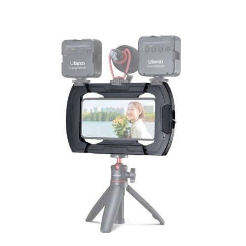 Ulanzi U-Rig Lite Video Vlog Phone Rig Cage con triple zapata fría 1/4 rosca de tornillo