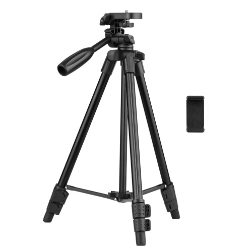 Adjustable Height Tripod Stand Aluminum Alloy 115cm/45in 3-Section 3KG Payload 3-Way Pan Head Universal 1/4 Mounting with Bubble Level Phone Clamp Holder Carrying Bag