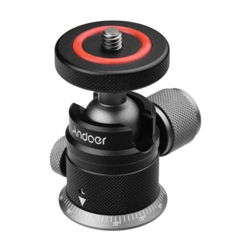 Andoer Stativkugelkopfhalterung aus Aluminiumlegierung Panorama 360 ° drehbar 180 ° umklappbar mit skalierter Basis Universal 1/4 Befestigung für spiegellose DSLR-Kamerastativbefestigung