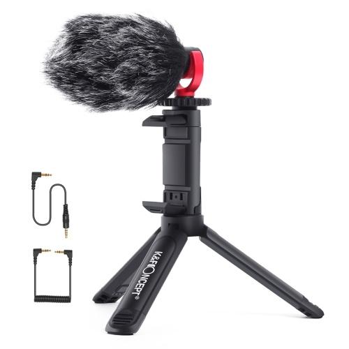 K & F CONCEPT Video-Vlog-Kit mit Telefonhalterung für Nierengeräusche mit Nierenmikrofon Ausziehbare Stativ-Stoßdämpfer-Pelz-Windschutzscheibe 3,5 mm TRS TRRS-Audiokabel für Smartphone-Kamera-Laptop