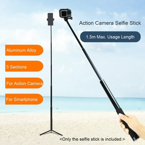 Sports Camera Selfie Stick Vlog Bracket Aluminum Alloy Max.150cm Extendable Length