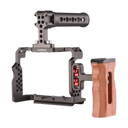 Комплект кожуха для камеры Andoer из алюминиевого сплава с верхней ручкой для видеооборудования, замена деревянной рукоятки для Sony A7R III / A7 II / A7III