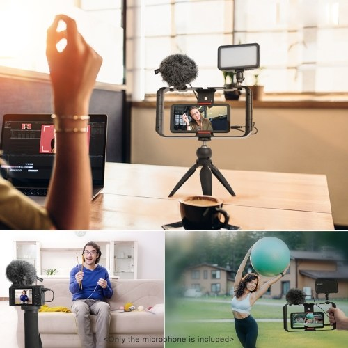SYNCO Mic-M1S On-camera Video Microphone Cardioid Condenser Mic with Shock Mount Windshield Carry Bag 3.5mm TRS & TRRS Cables for DSLR Camera Camcorder Smartphone Vlog Live Streaming Video Recording