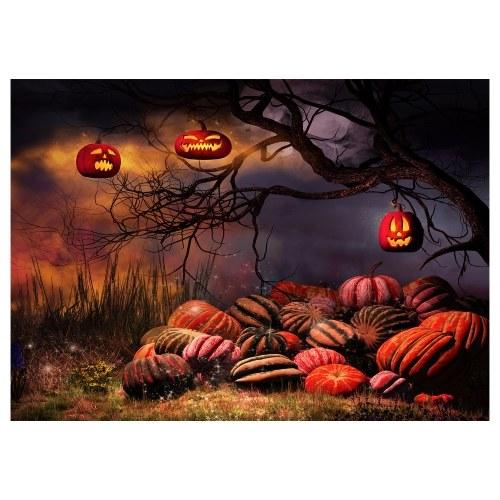 Halloween Theme Photography Background Portrait Photography Backdrops with Pumpkin Pattern Photo Studio Props for Portrait Photos Party Decoration, Size 2.1 * 1.5m/ 7 * 5ft