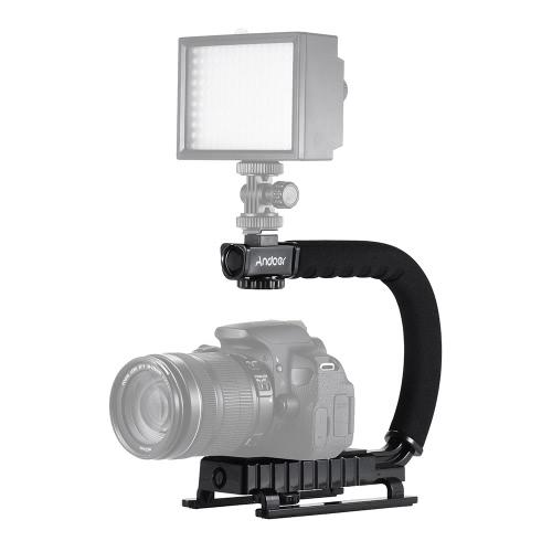 Andoer U / C Shaped Flash Uchwyt Uchwyt Uchwyt ręczny Działanie stabilizatora Grip do Canon Nikon Sony GoPro SJCAM Xiaomi Yi kamera wideo mini DV lustrzanek DSLR