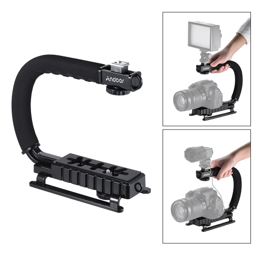 U-C Shaped Flash Bracket Holder Handle Hanheld Action Stabilizer Grip for Canon Nikon Sony Gopro SJC