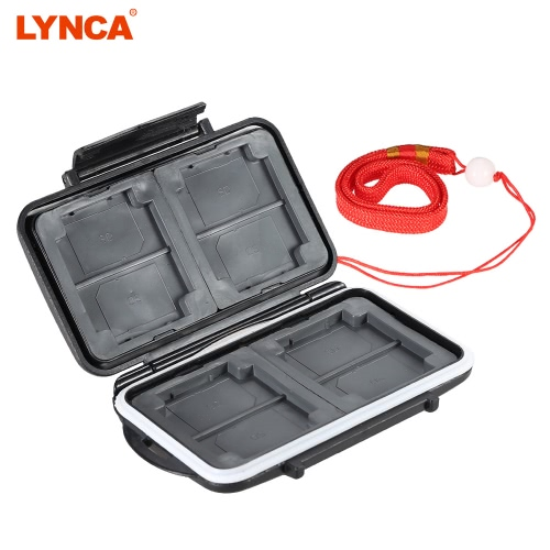 LYNCA Memory Card Storage Box Case Holder Protecter for 4CF+4SD+4XD+4MSPD ABS TPR Material Water-resistant Antiskid Camera Accessary Supply