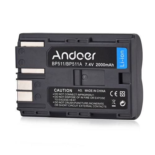 Andoer BP-511/BP-511A Rechargeable Li-ion Battery 7.4V 2000mAh for Canon EOS 50D 40D 30D Series Powershot Pro 1 90 EOS 20D 30D 40D MV-30i MV-430IMC FV200 FV30 FV40 KIT Optura 10 ZR-25 Camera Camcorder