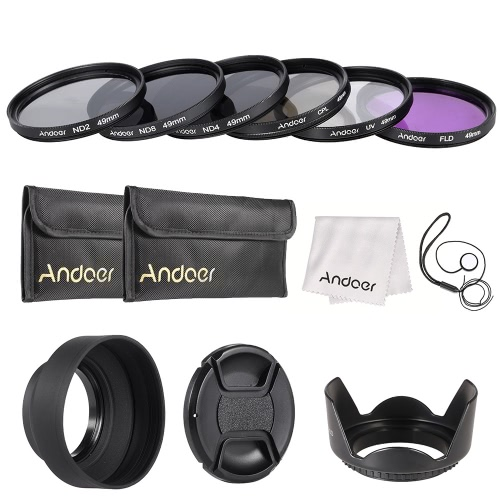 Andoer 49mm Lens Filter Kit UV + CPL + FLD + ND (ND2 ND4 ND8) mit Carry Pouch / Objektivdeckel / Objektivdeckel Halter / Tulip & Rubber Lens Hoods / Reinigungstuch