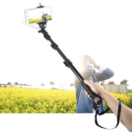 YUNTENG YT-1188 Wired Kabel Ausziehbar Selfie Stick Pole Einbeinstativ Selbstauslöser mit Handy-Clip 1/4 Schraube für iPhone 6 Plus/6 s/5 s/5/4 s für Samsung Smartphone mit Android IOS 5.0 4.2-System oder über DSLR-Kamera