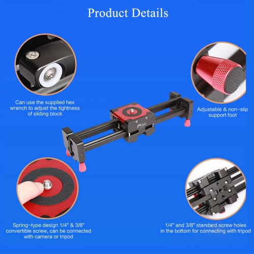 """S760 Portable Retractable Track Dolly Slider 50cm Rail Shooting Video Stabilizer 85cm Max Sliding Distance with 1/4"""" and 3/8"""" Screw for DSLR Camera Ca"""