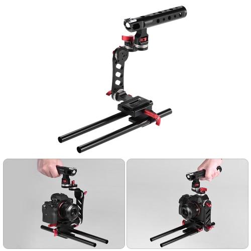 Andoer C-Shape Wideo Fotografia Film Making Camera Cage wspornik z płyty szybkiego montażu 15mm Pręty Sony A7 A7R A7II ILDC do Canon Nikon DSLR Camera