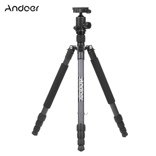 Andoer TP-666C Professional Carbon Fiber Tripod Kit 4 Sections Camera Tripod with AD-10 Ball Head Max. Height 163cm Load Capacity 6kg