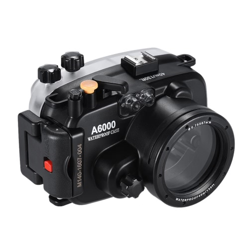 MEIKON SY-13 40m / 130ft Underwater Waterproof Camera Housing Black Waterproof Camera Case for Sony A6000