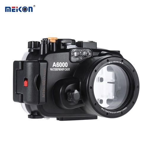 MEIKON SY-13 40m / 130ft Underwater Waterproof Camera Housing Black Waterproof Camera Case for Sony A6000